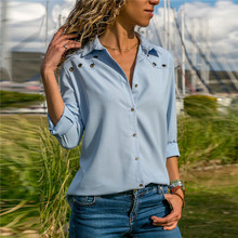 2019 Fashion Solid Color Sexy V Neck Button Hole Long-sleeved Chiffon Shirt Womens Tops Blouse Autumn Lapel Shirts Blue