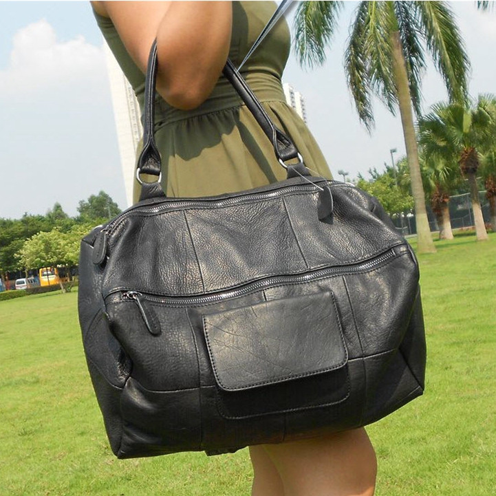 women real leather big black one shoulder bag female soft genuine leather totes first layer cowhide extra large messenger bag in Shoulder Bags from Luggage Bags
