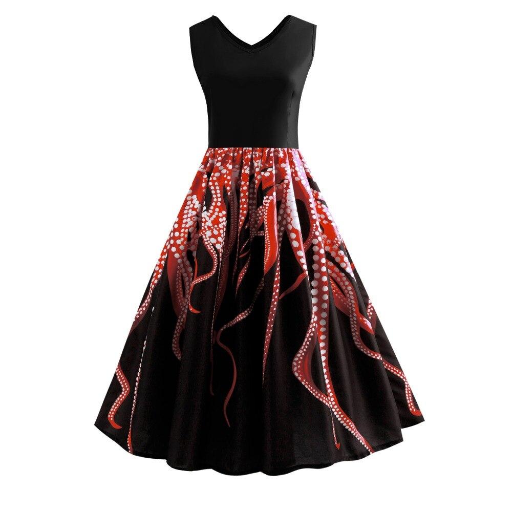 Svitania printemps/été robe Vintage imprimé culture de poulpe grande taille et sans manches débardeur robe de bal grande robe