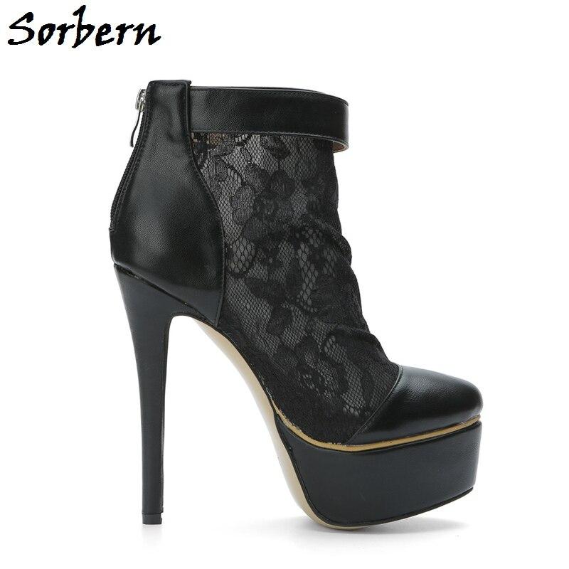 Sorbern forme Femmes De Couleur Stylets Haute Personnalisée Chaussures Noir Bottes Dames Orteil Glissière Respirant Cheville Mesh Roune Plate Sandales Talons MVjLSqzpGU