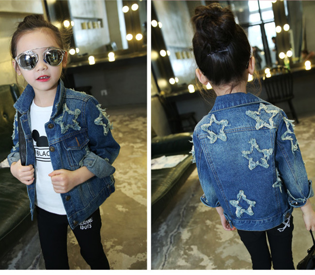 Children Clothing Spring Long Sleeve Star Patched Teenage Girls