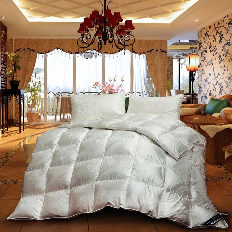 hot white grey mixed natural 95 goose down comforter grade a silk jacquard cover 800tc