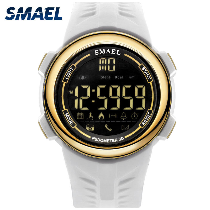 цена SMAEL Digital Watch Sport Men Waterproof Light Led Electronic Wrist Watches Bluetooth 1703 White Watches Stopwatch Smart Watch