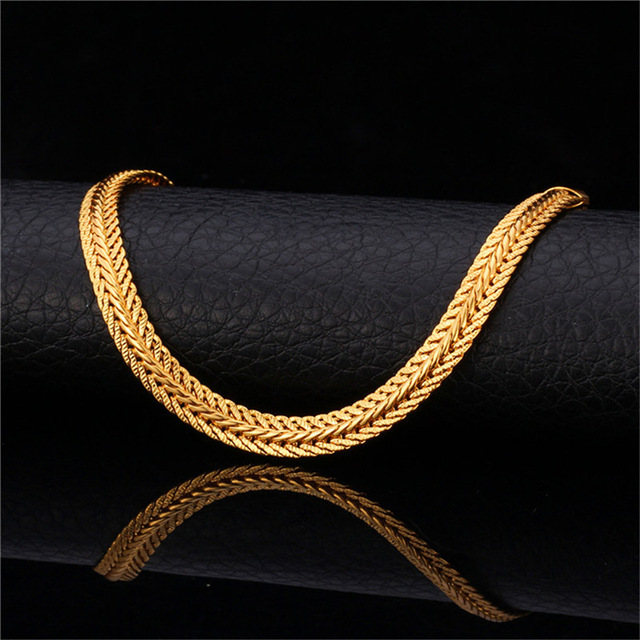 5be1edca2bf9 U7 Brand Men Necklace Fashion Rapper Jewelry Rose Gold Black Gold Color 6MM  Unique Choker Long Classic Foxtail Chain N363