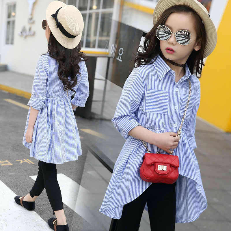 Kids Girls Shirts Fall 2017 Children Cotton Striped Shirt Dress Blue Blouses 5 7 9 10 12 Years Girls Clothes curved hem striped shirt dress