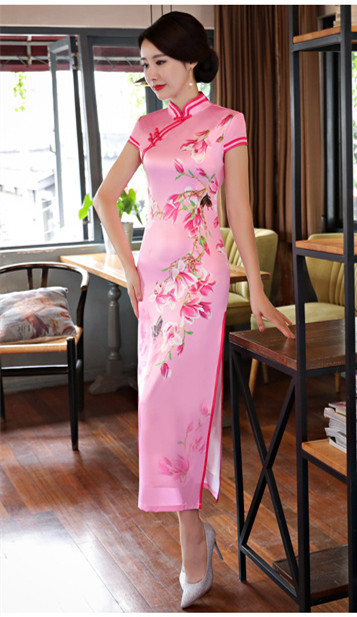 2019 pink color wholesale short sleeve long dress Qipao Dress vintage chinese style cheongsam dress Chinese