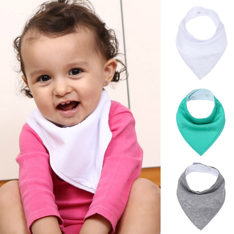 Solid Color Soft Cotton Baby Bibs & Burp For Infant Newborn Baby Babador Bandana Cotton  ...