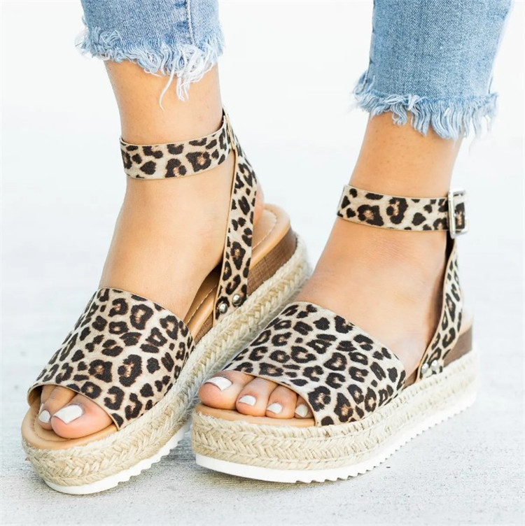 2019 Summer Womens Casual Espadrilles Trim Rubber Sole Flatform Studded Wedge Buckle Ankle Strap Open Toe Sandals