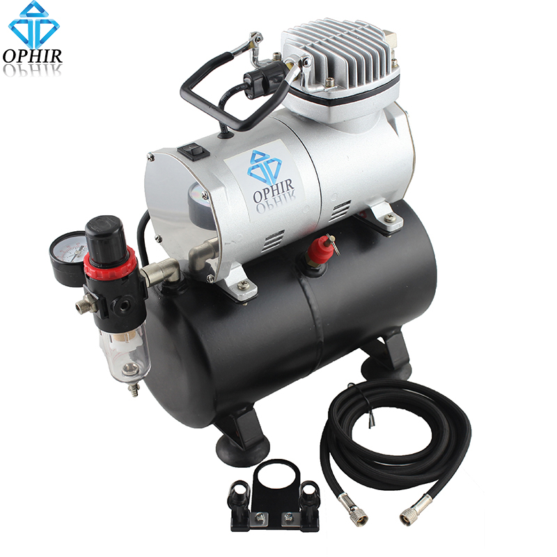 OPHIR 110V,220V Mini Air Tank Compressor Set for Airbrushing Temporary Tattoo Nail Art Hobby Makeup Airbrush Compressor _AC090