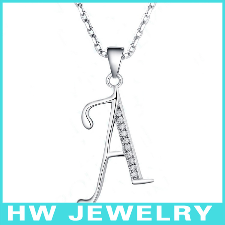 BLAL008 925 Sterling Silver with CZ Alphabet Initial Letter A Pendants with chains necklace Jewelry free shipping