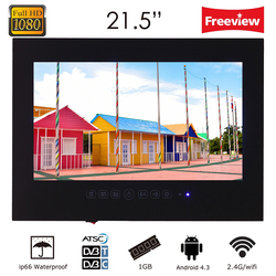 Souria 21.5inch Black(White) Color Waterproof Bathroom Full HD 1080 Smart Android LED TV Water Resistant Shower TV
