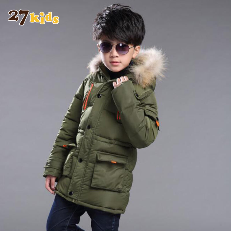 27Kids 5-15T boy clothes winter warm coats and jackets new boys down coat with hooded thick warm kids coat children clothing boys fleece jackets solid coat kid clothes winter coats 2017 fashion children clothing