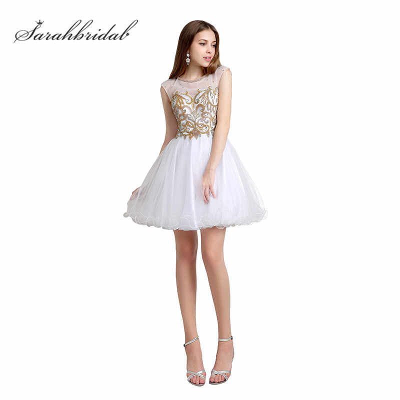 Sweety White Gold Homecoming Dresses With Crystal beaded Short for Girls  Graduation Party Gowns tulle Fashion 2b67d036f346