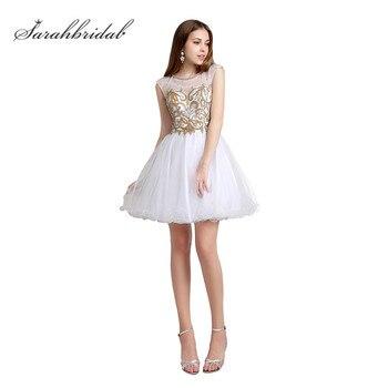 56f7c128b25 Sweety белого золота Homecoming платья с кристально бисером Короткие для  девочек Выпускной вечерние платья Тюль модные мини-горячий AJ024