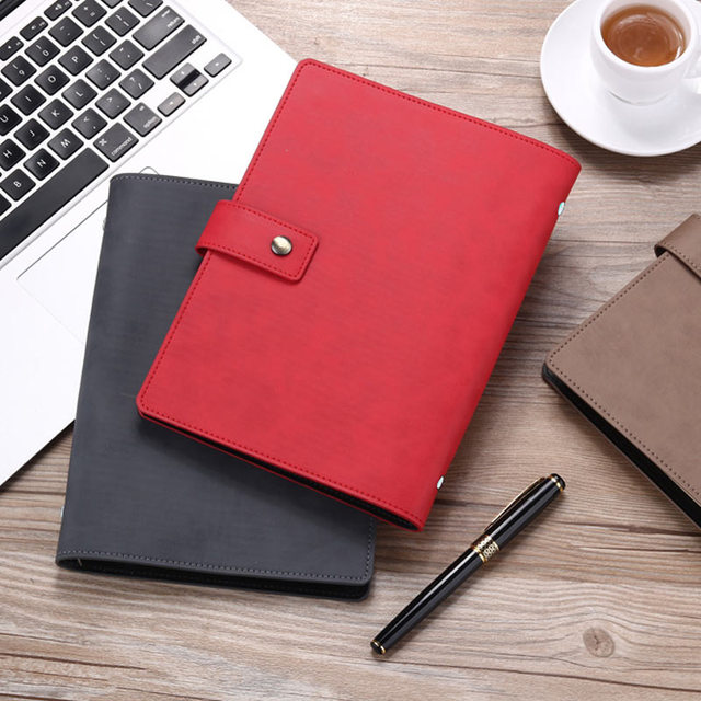 Yiwi A5 Business Planner Black Red Soft Pu Leather loose Leaf Binder Spiral Office Notebook With line Inner Pages