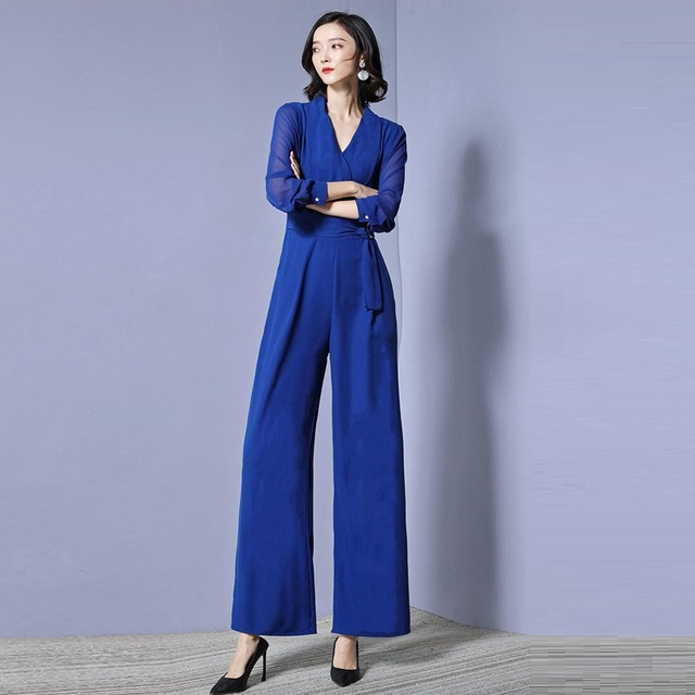 332565e7637 Blue Rompers Womens Jumpsuit Long Pants 2019 New Fashion Elegant Office  Lady Deep V-neck Wide leg jumpsuits Women Overalls