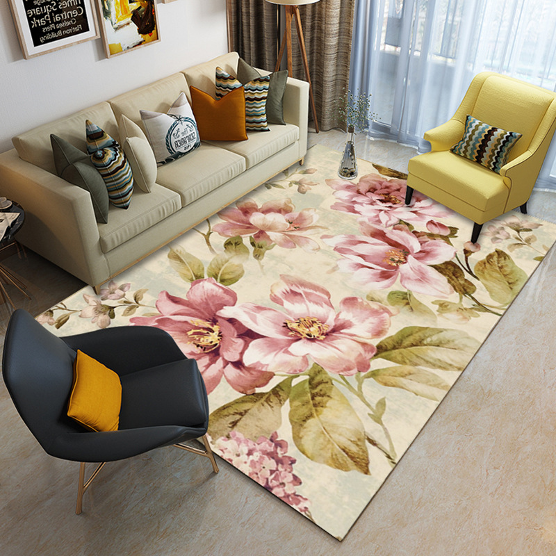 American Flower Carpets For Living Room Romantic Soft Area Rugs For Bedroom Study Floor Mat Home