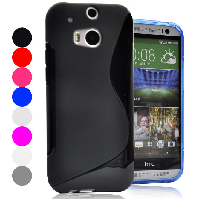 For HTC One M8 Case S LINE Anti Skid Coque For HTC One M8 2 Two Case Silicone</fon