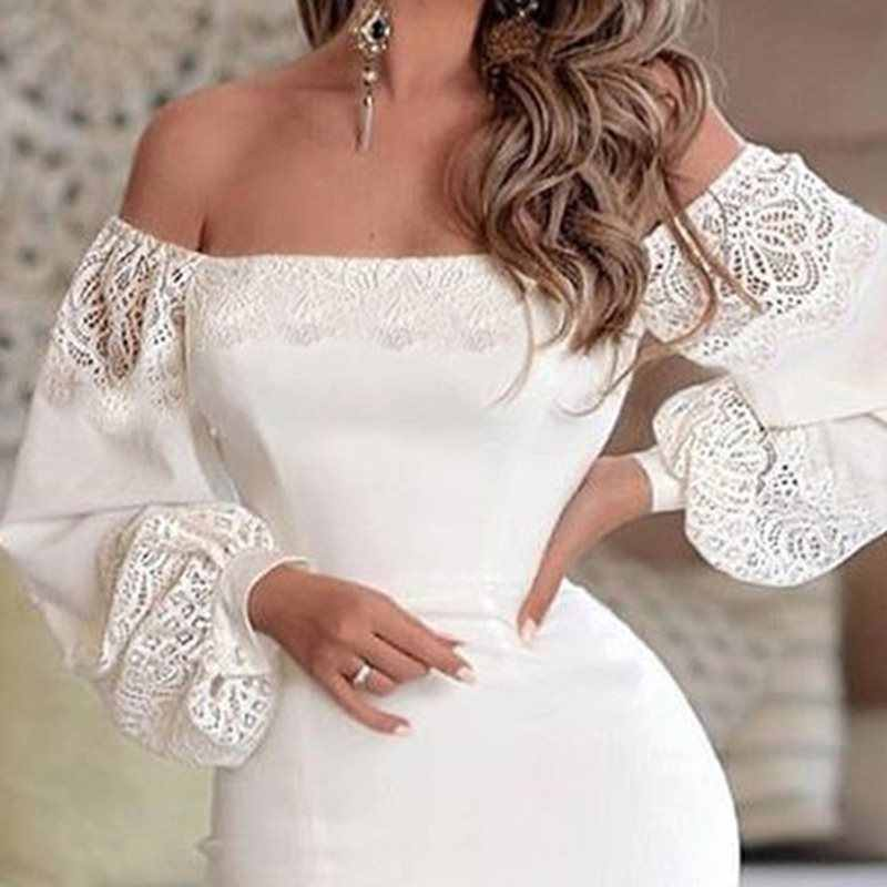 Для женщин с открытыми плечами пикантные белые вечерние платья Плюс Размеры кружева с длинным рукавом спереди Разделение Элегантная Дамская Клубная одежда Bodycon платья; сезон осень