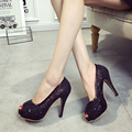 stylish peep toe solid slip on more colors high thin heels lace upper women shoes fashion side mesh pumps new hot sexy stilettos