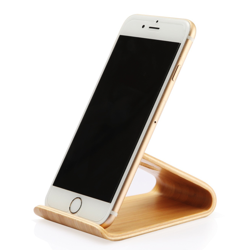 Universal Stand Phone Holder Bamboo Wood Stand Holder for iPad
