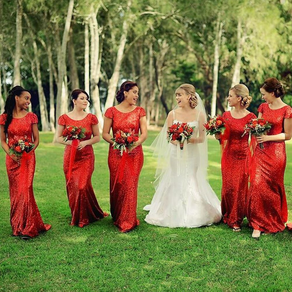 Aliexpress Red Long Bridesmaid Dresses Sequins Beaded Gowns 2016 Maid Of Honor For Wedding Party Dress C29 From Reliable
