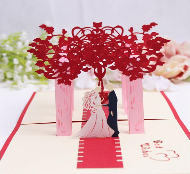 10pcs Hollow Bride and Groom Handmade Kirigami Origami 3D Pop UP Greeting Cards Invitation Postcard For Wedding Party Gift