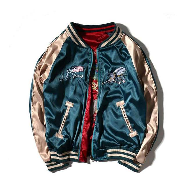 33e92634850 Detail Feedback Questions about 2019 women basic coats fashion bomber  jacket men Reversible both sides Satin Embroidery brand clothing plus size  Outerwear ...