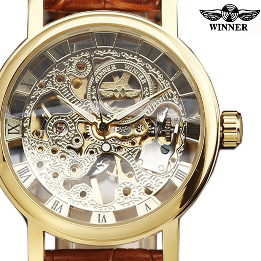 font b WINNER b font Fashion Brand Casual Man Women Clock Military Business Skeleton Hand