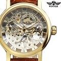 VENCEDOR Marca de Moda Homem Mulheres Relógio Ocasional Militar Skeleton Vento Mão Mecânica Esporte Relógio de Pulso Luxury Vestido de Negócios 104