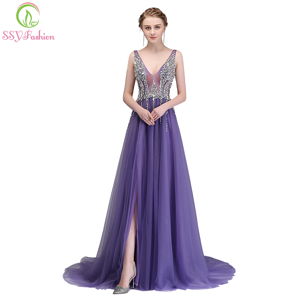 SSYFashion New Luxury Beading   Evening     Dress   The Sexy V-neck Sleeveless Backless Sweep Train Party Gown Custom Formal   Dresses