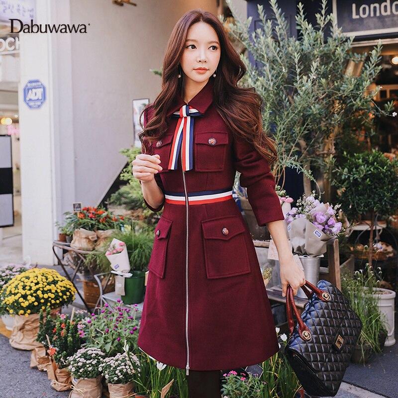 Dabuwawa Women Woolen Coat New Winter Fashion Bow Tie Square Collar Slim Pockets Long Coat D18DLN059