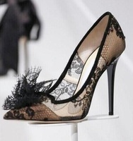 Sexy Black Lace Mesh High Heels Pumps Pointed Toe Women Lace Flower Pointy Stiletto Heel Pumps Fashion Slip on Women Dress Shoes