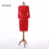 Charming Red Simple Straight Lace Boat Neck Short Evening Dresses 2018 Cheap Long Sleeves Tea Length
