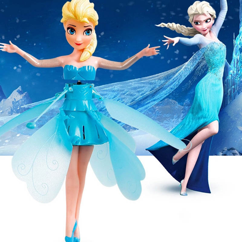 For Vip With Box Frozen Princess Elsa  Fairy Magical Flying Toy  Aircraft  Control Flying Dolls Toys
