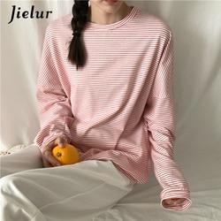 Jielur Korean Fashion Comfortable Stripe T Shirt Female Brief Slim Hipster Long Sleeve Tshirt Women Black White Autumn Top Femme 1