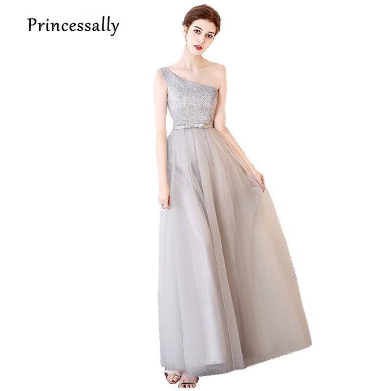 Robe De Soriee New Simple Wedding Dress Full Sleeve Lace: Robe De Soriee Light Grey Bridesmaid Dresses One Shoulder