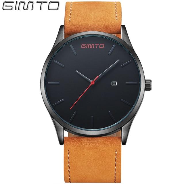2017 GIMTO Brand Men Watches Leather Quartz Analog Waterproof Watch Reloj Hombre Men's Sports Wrist Watch Relogio Masculino