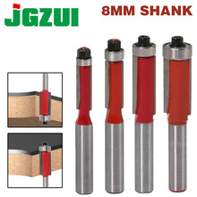 """1pcs 8"""" Shank  Flush Trim Router Bits for wood Lengthened Trimming Cutters with bearing woodworking tool endmill"""