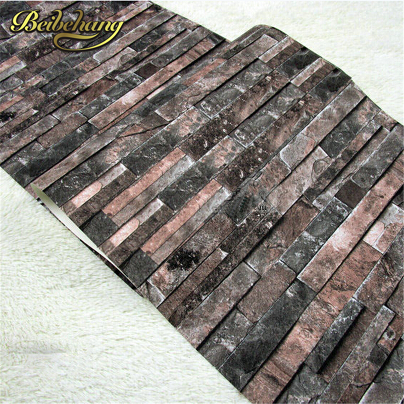 beibehang PVC Vintage Wall paper 3D wood brick designs stripe pattern Bedroom TV Sofa Blackground home decoration Wallpaper