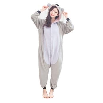 Coalas bonito Koala Onesie Flanela One-Peça Pijama Canguru Kigurumi Animal Pijamas Adulto Mulheres Para O Dia Das Bruxas Partido Cosplay