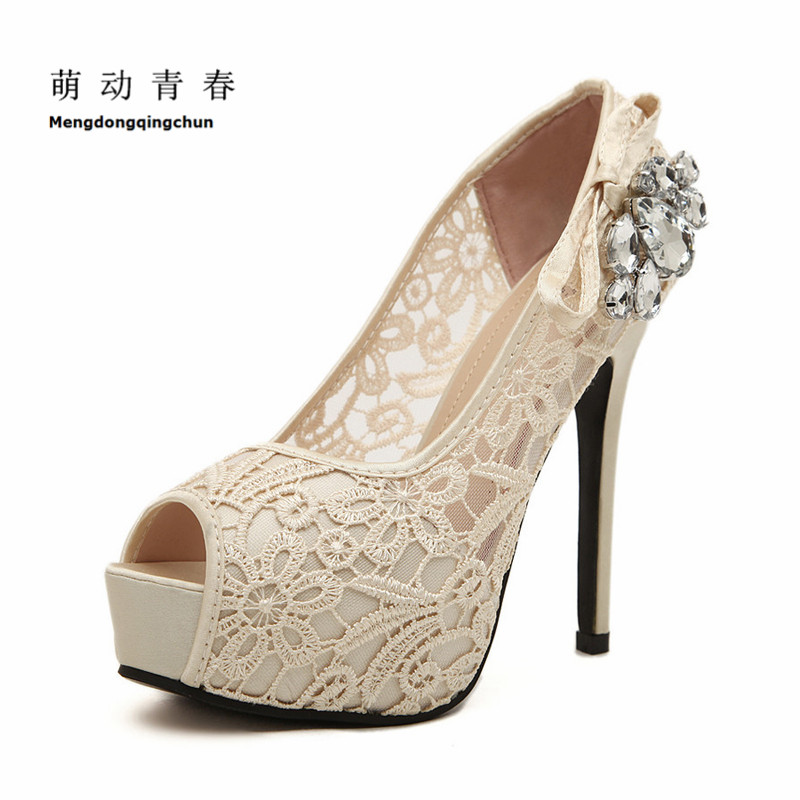 Women Wedding Shoes Sexy Lace Peep Toe High Heels Platform Pumps Summer Dress Pumps Womens Sweet Bow Bridal Shoes free shipping black lace peep toe high heels dress pumps 2017 spring summer sexy heels plus size euro 43 platform shoes sandal