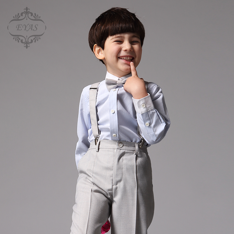 2017 EYAS Boy's Formal Suit Set Ring Bearer Clothing Grey 4-pc Outfit Tuxedo Style Pants, Shirt, Suspenders, Bowtie K5116 2017 eyas kids clothes child clothing set long sleeve suit set white ring bearer formal 4pc with shirt bowtie a5103