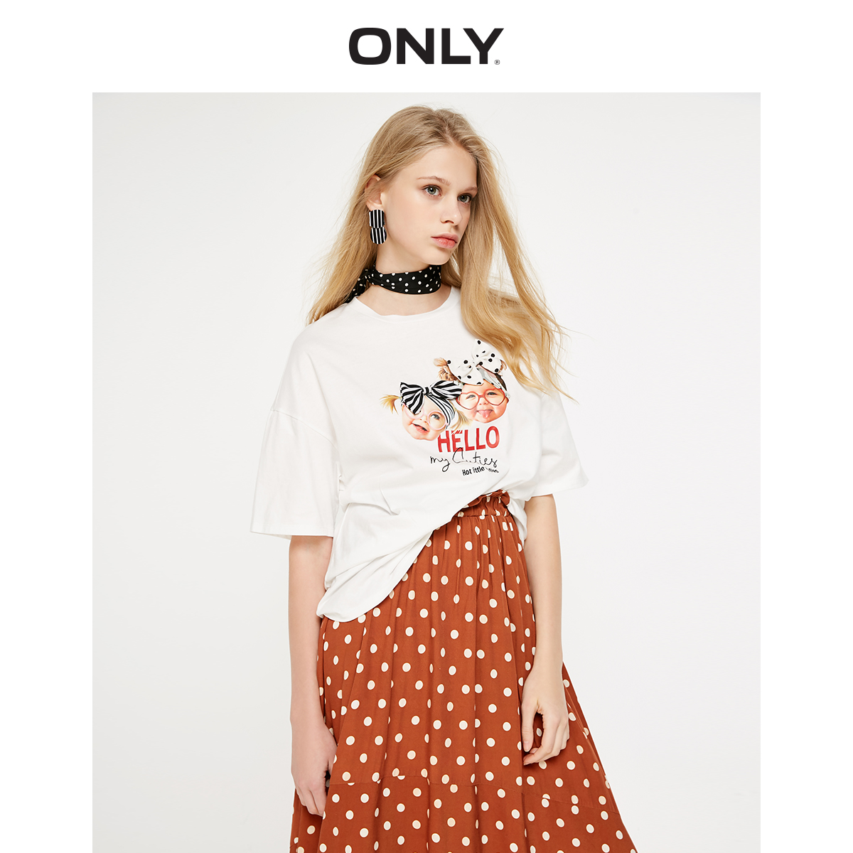 ONLY  Spring Summer Women's Bowknot Loose Fit Elbow Sleeves T-shirt  119101635