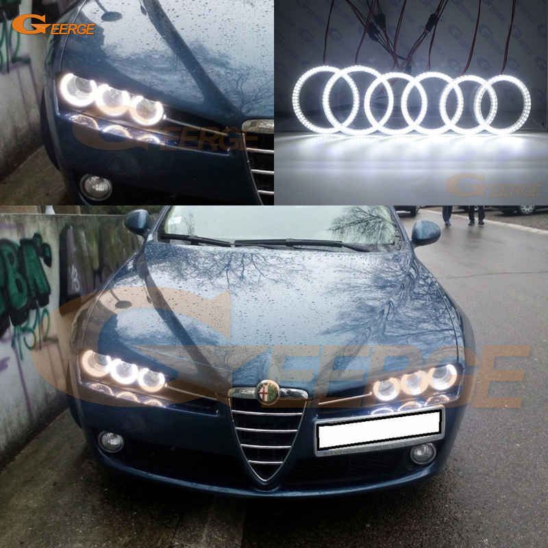 Per Alfa Romeo 159 2005 2006 2007 2008 2009 2010 2011 2011 Eccellente 6 anelli anelli Super luminoso 3528 SMD led Angel Eyes kit DRL