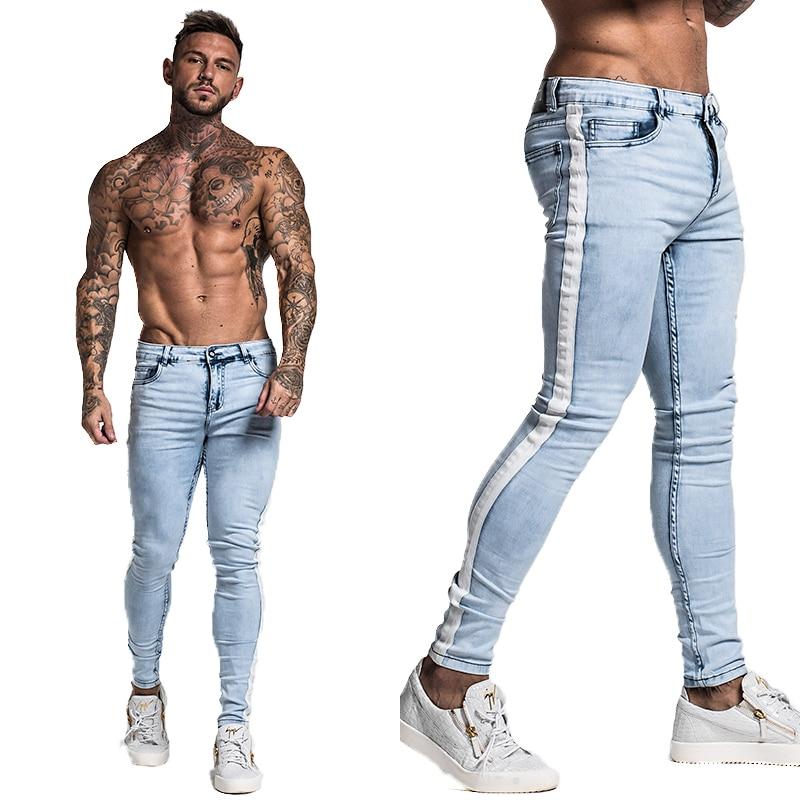Angelesinertes Comprar Gingtto Skinny Jeans Para Hombres Diseno Apenado Pantalones Vaqueros De La Marca Azul Slim Tobillo Apretado Zm33 Online Baratos