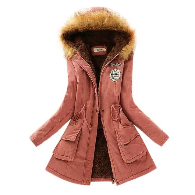 Новые 2015 Женщины Куртки Теплые Твердые Капюшоном зимнее Пальто мода Slim Меховым Воротником Куртки горячей продажи верхней одежды JT142