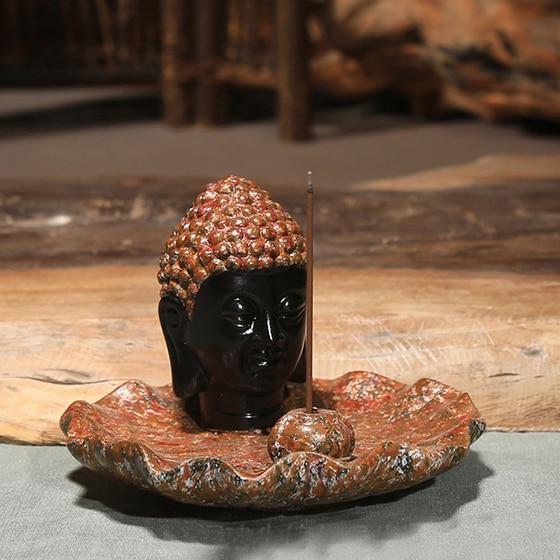 Buddha hlava keramická aromaterapie kadidlo držák na vonné - Dekorace interiéru - Fotografie 4