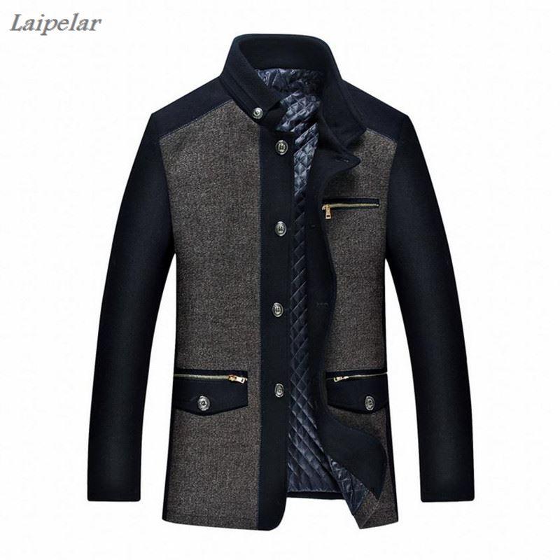 2018 Mens Winter Jacket New Fashion Personality Wool Mens coat Men Plus cotton Coat Business Casual Overcoat Laipelar