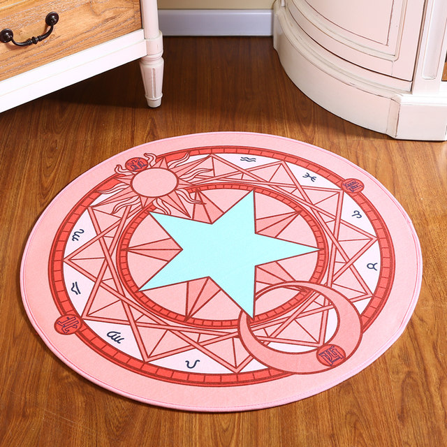 Baby Rugs Cartoon Play Mat Sakura Magic Circle Puzzle Mats Children Round Carpet Diameter 60 100cm For Kids